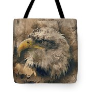 Colored Etching Of American Bald Eagle Tote Bag