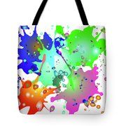 Colored Splashes On A Blue Background Tote Bag