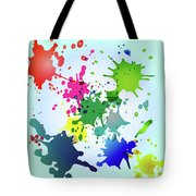 Colored Splashes On A Very Beautiful Blue Background Tote Bag