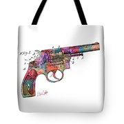 Colorful 1896 Wesson Revolver Patent Tote Bag by Nikki Marie Smith