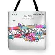 Colorful 1906 Wright Brothers Flying Machine Patent Tote Bag