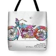 Colorful 1928 Harley Motorcycle Patent Artwork Tote Bag