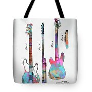 Colorful 1953 Fender Bass Guitar Patent Artwork Tote Bag by Nikki Marie Smith