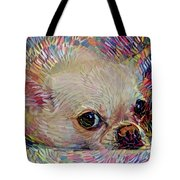 Colorful Abstract Chihuahua Tote Bag by Peggy Collins