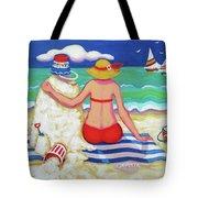 Colorful Beach Woman Sandman Tote Bag