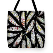 Colorful Black And White Leaves Tote Bag