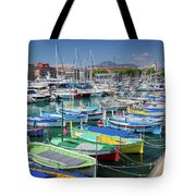 Colorful Boats Docked In Nice Marina, France Tote Bag