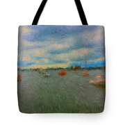 Colorful Boats On Cloudy Day At Boothbay Harbor Tote Bag
