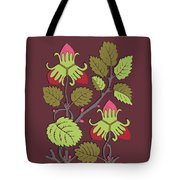 Colorful Botanical Hand Drawn Strawberry Bush Isolated On Vinous Tote Bag