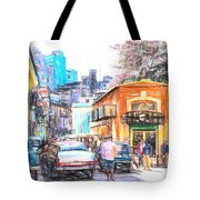 Colorful Buildings And Old Cars In Havana - V3 Tote Bag