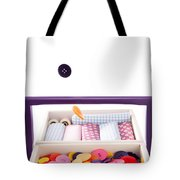 Colorful Buttons Fall Into A Sewing Box Tote Bag