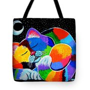 Colorful Cat In The Moonlight Tote Bag by Nick Gustafson