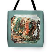 Colorful Catch - Starfish In Fishing Nets Square Tote Bag