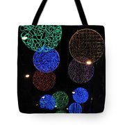 Colorful Christmas Lights Decoration Display In Madrid, Spain. Tote Bag