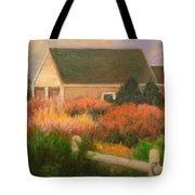Colorful Cottage Cape Cod Tote Bag