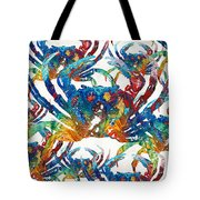Colorful Crab Collage Art By Sharon Cummings Tote Bag