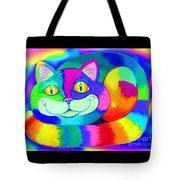 Colorful Crazy Cat Tote Bag