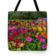 Colorful Dahlias In Garden Tote Bag