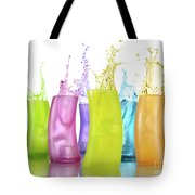 Colorful Drink Splashing From Glasses Tote Bag