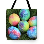 Colorful Easter Eggs On Green Grass Tote Bag