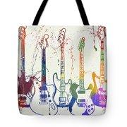 Colorful Fender Guitars Paint Splatter Tote Bag