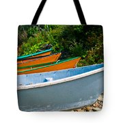 Colorful Fishing Boats On A Rocky Shore  Grand Manan Tote Bag