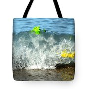Colorful Flowers Crashing Inside A Wave Against The Shoreline Tote Bag