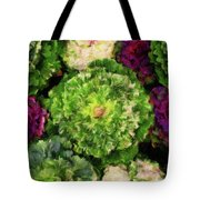 Colorful Green, White And Purple Flowers Painting Tote Bag