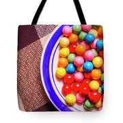 Colorful Gumballs On Plate Tote Bag