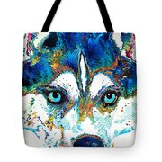 Colorful Husky Dog Art By Sharon Cummings Tote Bag
