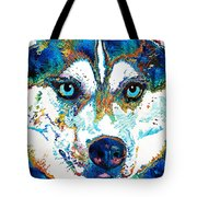 Colorful Husky Dog Art By Sharon Cummings Tote Bag