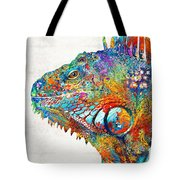 Colorful Iguana Art - One Cool Dude - Sharon Cummings Tote Bag