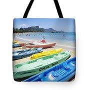 Colorful Kayaks On The Beach Tote Bag
