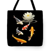 Colorful Koi With Water Lily Tote Bag