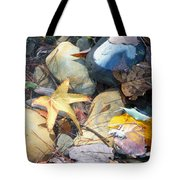 Colorful Leaves And Rocks In Creek Tote Bag