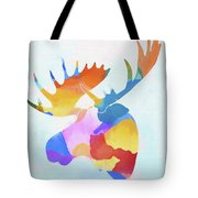 Colorful Moose Head Tote Bag