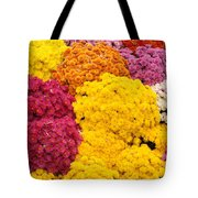 Colorful Mum Flowers Fine Art Abstract Photo Tote Bag
