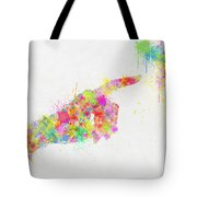 Colorful Painting Of Hand Pointing Finger Tote Bag