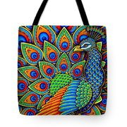 Colorful Paisley Peacock Tote Bag