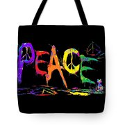 Colorful Peace Cat Tote Bag
