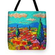 Colorful Poppies Field Abstract Landscape Impressionist Palette Knife Painting By Ana Maria Edulescu Tote Bag