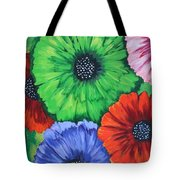 Colorful Poppy Lime Tote Bag