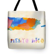 Colorful Puerto Rico Map Tote Bag