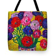 Colorful Ranunculus Flowers In Polka Dots Vase Palette Knife Oil Painting By Ana Maria Edulescu Tote Bag