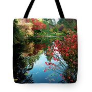 Colorful Reflection In Autumn Gardens. Tote Bag