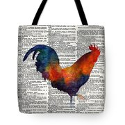 Colorful Rooster On Vintage Dictionary Tote Bag by Hailey E Herrera