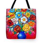 Colorful Roses And Camellias - Abstract Bouquet Of Flowers Tote Bag