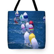Colorful Sails In Ocean Tote Bag by Sharon Green - Printscapes