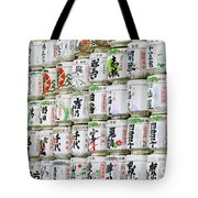 Colorful Sake Casks Tote Bag by Bill Brennan - Printscapes