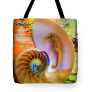Colorful Seahorse And Nautilus Shell Tote Bag